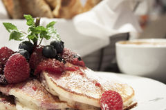 Breakfast of buttermilk pancakes with fresh berries Royalty Free Stock Photo