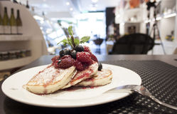 Breakfast of buttermilk pancakes with fresh berries Royalty Free Stock Photography