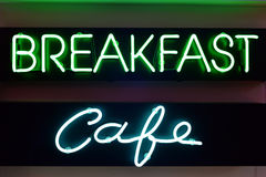 Breakfast and cafe neon signs Stock Photography