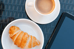 Breakfast at the cafe is on the table Stock Images