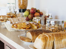 Breakfast cakes and fruits Royalty Free Stock Photo