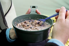 Breakfast on a camping trip Royalty Free Stock Photo
