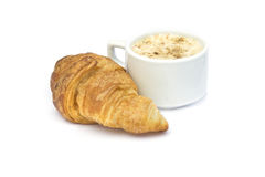 Breakfast : Cappuccino  and croissant on white Stock Photo