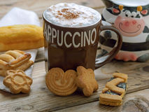 Breakfast with cappuccino Royalty Free Stock Photography