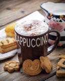 Breakfast with cappuccino Royalty Free Stock Image
