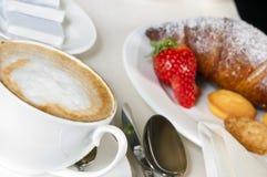 Breakfast with cappucino Stock Photos