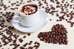Breakfast Cappucino with love symbol raw coffee Stock Images