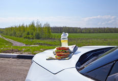 Breakfast on a car hood - sandwiches and lemonade Royalty Free Stock Photography