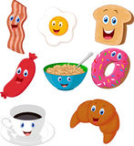 Breakfast cartoon collection Royalty Free Stock Images