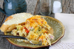 Breakfast casserole with coffee Stock Photos