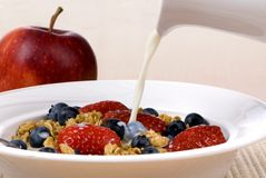 Breakfast Cereal 1. A good start to a day, fresh fruit and cereal Stock Images
