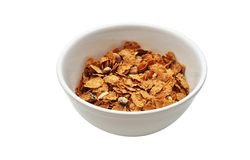 Breakfast Cereal. An isolated image of a bowl of breakfast cereal royalty free stock photos