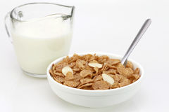 Breakfast Cereal. A healthy breakfast of cornflakes with milk Stock Images
