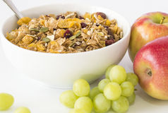 Breakfast Cereal, Apples and Grapes. Stock Photo