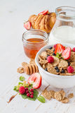Breakfast - cereal and berries in white bowl Stock Image