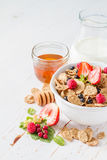 Breakfast - cereal and berries in white bowl Royalty Free Stock Photography