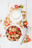 Breakfast - cereal and berries in white bowl Royalty Free Stock Images
