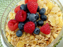 Breakfast cereal with blueberries Stock Photos
