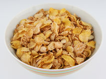 Breakfast Cereal in Bowl. Breakfast cereal flakes and sliced almonds in a bowl royalty free stock photography