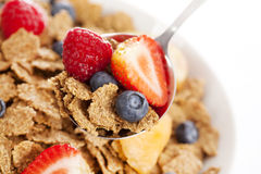 Breakfast cereal. A bowl with breakfast cereal - with fruit stock photography