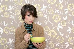 Breakfast cereal bowl retro woman vintage Stock Photos