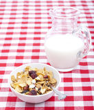 Breakfast cereal with carafe of milk Royalty Free Stock Image