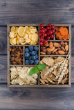 Breakfast cereal, dried fruit, berries and nuts in a wooden box Royalty Free Stock Images