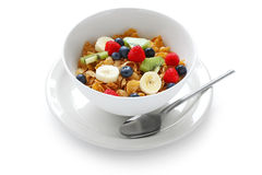 Breakfast cereal with fresh fruits Royalty Free Stock Photos