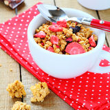 Breakfast cereal with fruit, granola Stock Photo