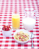 Breakfast of cereal, fruit, orange juice and milk Royalty Free Stock Image