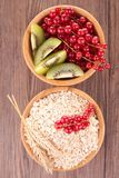 Breakfast with cereal and fruits Stock Photos