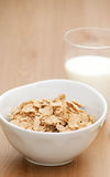 Breakfast cereal and glass of milk Royalty Free Stock Photos
