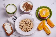 Breakfast cereal with jogurt. style vintage. Selective focus royalty free stock photography