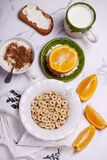 Breakfast cereal with jogurt. style vintage. Selective focus stock photos