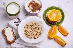 Breakfast cereal with jogurt. style vintage. Selective focus stock image