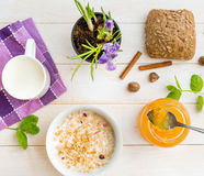 Breakfast of cereal, milk and donuts Stock Photography