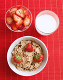 Breakfast cereal with milk and strawberries Royalty Free Stock Photo