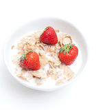 Breakfast cereal with milk and strawberries Royalty Free Stock Photography