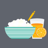Breakfast Cereal Oatmeal and Orange Juice, Icon in Modern Flat S Stock Photo