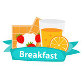 Breakfast Cereal Oatmeal and Orange Juice, Icon in Modern Flat Royalty Free Stock Photos
