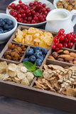 Breakfast cereal and other fresh ingredients in a wooden box Stock Image