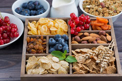 Breakfast cereal and other ingredients in a wooden box Stock Image