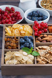 breakfast cereal and other ingredients in a wooden box, vertical Royalty Free Stock Photography