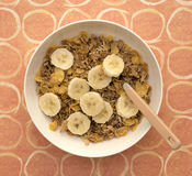 Breakfast Cereal with Sliced Banana Royalty Free Stock Images