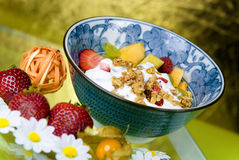 Breakfast Cereal with Strawberries Stock Photo