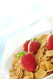 Breakfast cereal with strawberries and cream Royalty Free Stock Images
