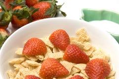 Breakfast cereal strawberries milk Stock Image