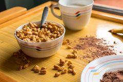 Breakfast with cereals in a bowl with milk, cocoa and banana stock photo