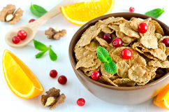 Breakfast with cereals. Cereal breakfast with various fruits and berries Royalty Free Stock Photo
