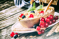 Breakfast with cereals and fresh berries Stock Photo